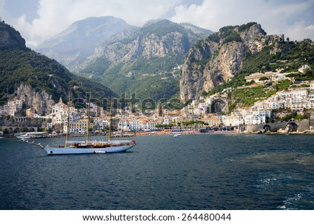 Sea view of Amalfi, a town in the province of Salerno, in the region of Campania, Italy, on the Gulf of Salerno, 24 miles southeast of Naples - stock photo