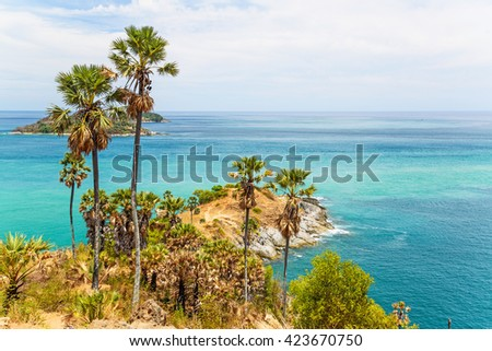 Sea view of Phromthep Cape, Phuket island, Thailand. - stock photo