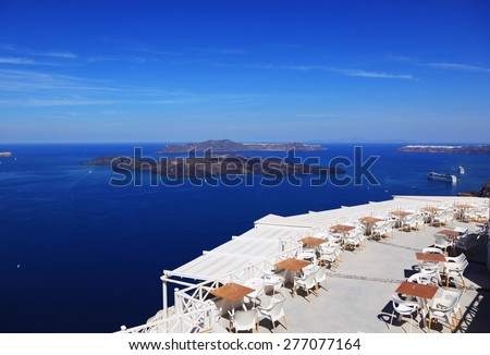 Sea view on Santorini island in Greece - stock photo