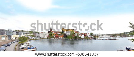 Sea View Over The Sea. Arendal City, Norway. City View, Arendal,