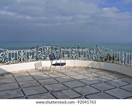 Sea view relaxation area of luxury hotel, Tunisia, - stock photo