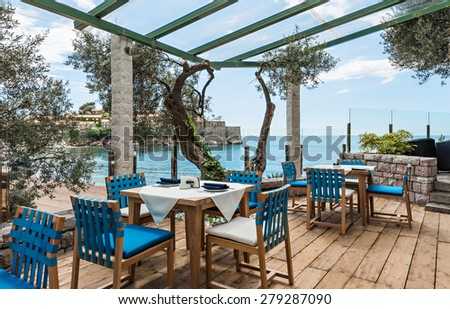 Sea view terrace of the luxury restaurant - stock photo