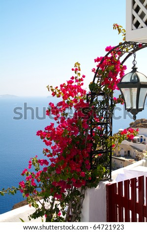 Sea view with traditional flowers near the greek house. - stock photo