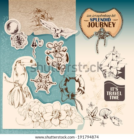 Sea vintage scrapbooking kit of sailing ship anchor seagull stickers  illustration - stock photo