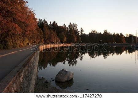 Sea wall at dusk in Vancouver, British Columbia, Canada - stock photo