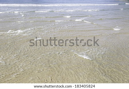 Sea water on a beach, detail of a beach in a city of Spain, nature and fun