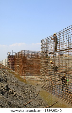 Sea water retaining engineering construction site, northern china