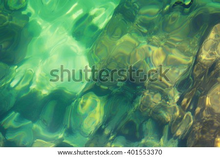 Sea water top view with sunlight on turquoise,close up,select focus with shallow depth of field - stock photo