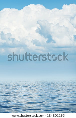 Sea wave horizon with cloudy sky