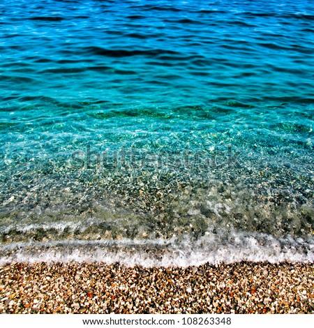 Sea wave. Seascape. Summer landscape.Transparent sea water. - stock photo
