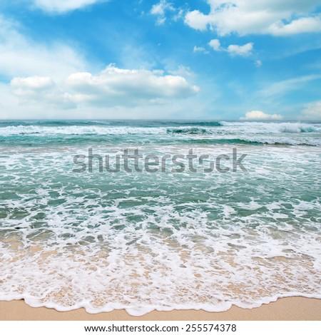 sea waves and blue sky - stock photo