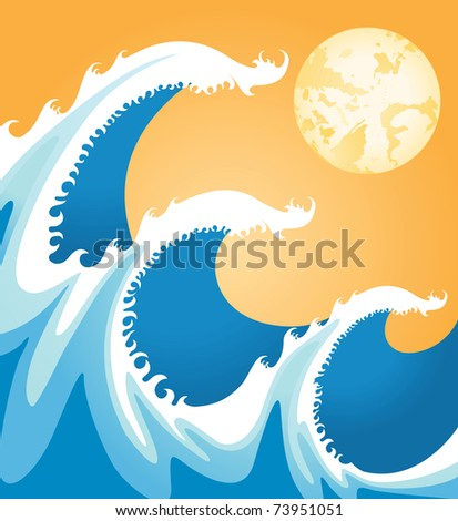 sea waves in japan style - stock photo