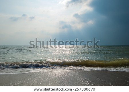 Sea waves on a sandy beach with stormy sky. - stock photo