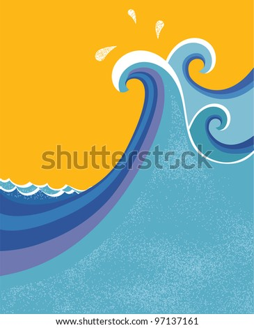 Sea waves poster.Raster