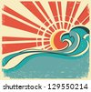sea waves.Vintage illustration of nature poster with sun.Raster - stock vector