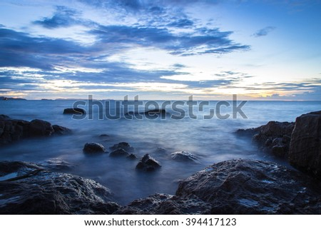 Sea with evening light