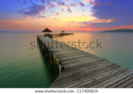 Sea with Vivid Sky - stock photo