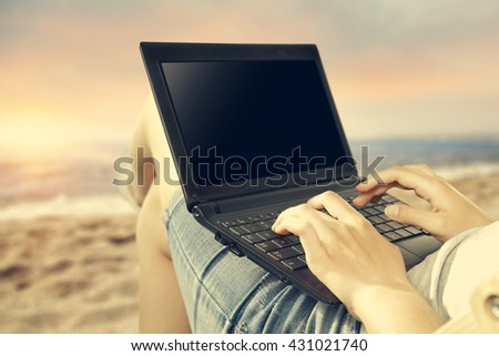 sea woman hands laptop and free space