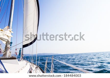 sea yacht deck on tropical sea background