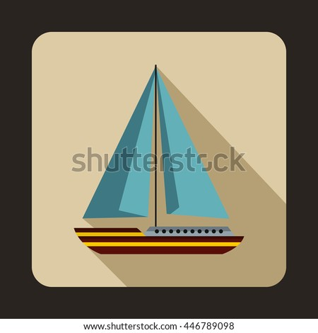 Sea yacht icon in flat style with long shadow. Sea transport symbol - stock photo