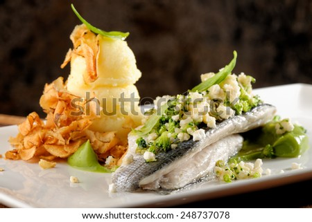 Seabass fillet with vegetable and mashed potato