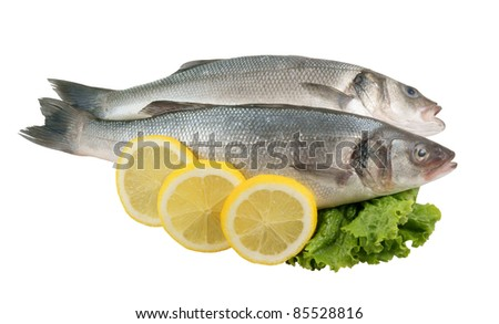 Seabass fish with lemon and greens isolated