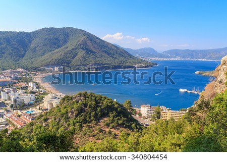 seacoast, marmaris, turkey, sunny day in the bay, coastline