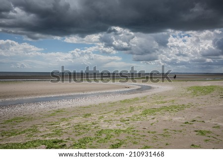 Seacoast of Ireland on a sandy beach - stock photo