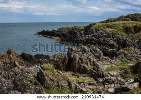 Seacoast of Ireland with rocks - stock photo