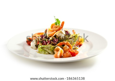 Seafood and Vegetables Salad - stock photo