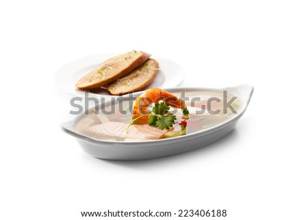 Seafood Aspic topped with Shrimps. Garnished with Bread - stock photo