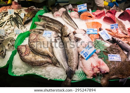 seafood at Mercat de Sant Josep de la Boqueria market in Barcelona, Spain - stock photo