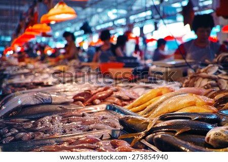 seafood at the fish market - stock photo