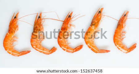 seafood boiled shrimp in raw - stock photo