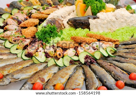 Seafood catering - stock photo
