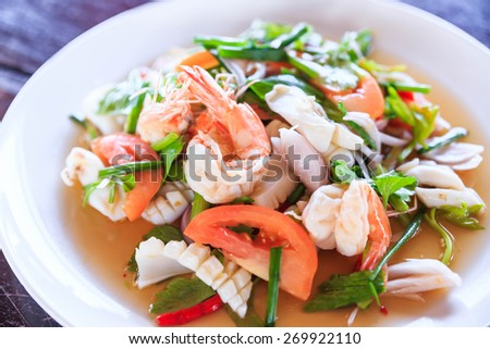 Seafood ceviche, typical dish from thailand - stock photo