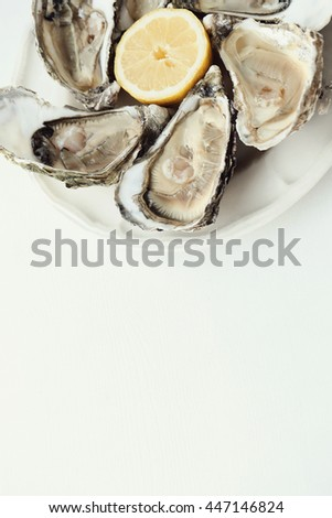 Seafood. Delicious oyster with lemon - stock photo