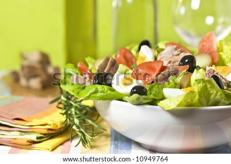 Seafood healthy salad - stock photo