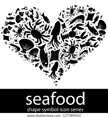 Seafood icon symbols composed in the shape of love (depicting love seafood or love sea creatures concept)