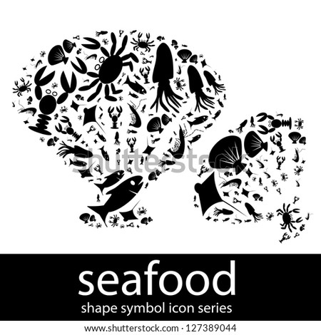 Seafood icon symbols composed in the shape of shell - stock photo