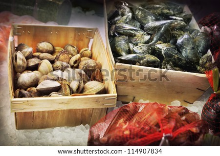 Seafood in a fish market - stock photo