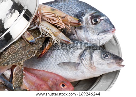 Seafood in Silver Restaurant Cloche    - stock photo