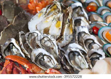 Seafood in the ice,line buffet - stock photo