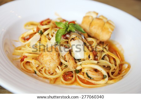 Seafood Linguine - stock photo