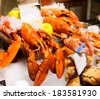 Seafood lobsterson ice in a supermarket - stock photo
