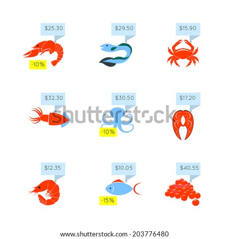 Seafood market online store discount fish lobster caviar price tags icons set flat abstract isolated  illustration - stock photo