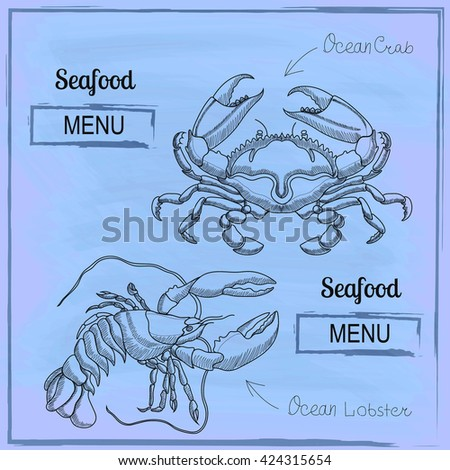 seafood menu cover - lobster and crab - stock photo