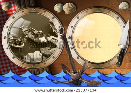 Seafood - Menu Template / Two metal portholes on wood wall with ropes and tablecloth, fishing boats, kitchen knife, rusty anchor and seashells. Template for recipes or seafood menu