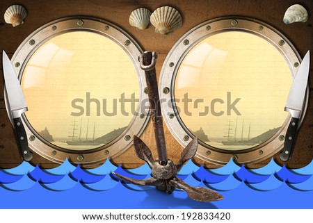 Seafood - Menu Template / Two metal portholes with blue waves on wooden wall, kitchen knives, rusty anchor and seashells, template for recipes or seafood menu