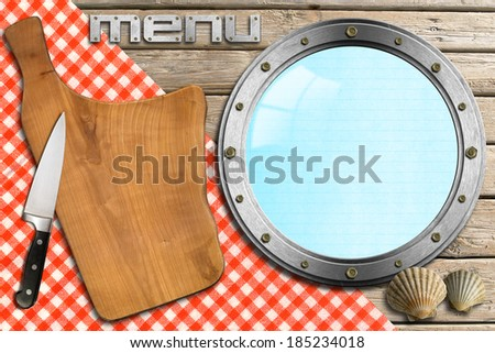 Seafood - Menu Template / Wooden cutting board, empty metal porthole and kitchen knife, template for recipes or seafood menu - stock photo